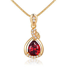 Drop Pear Ribbon Red Swarovski Crystal Gold Filled Lady Women Banquet Necklace