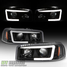 Black 1999-2006 GMC Sierra Yukon Denali LED Tube Projector Headlights Headlamps