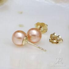 FEMININER KLASSIKER ● 6mm ●  SC Perlen Ohrstecker alt rosa ygf 14k Gold 585