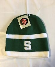 Michigan State Spartans Knit Beanie Toque Skull Winter Hat Cap NEW Green White