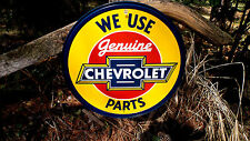 Chevrolet Chevy Genuine Parts Round Tin Garage Wall Decor Advertising Sign NEW