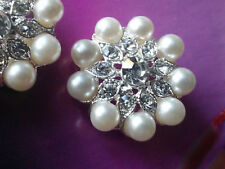 Ivory Pearl Silver Metal Rhinestone Buttons 23 mm 10 Pieces Bridal Embellishment