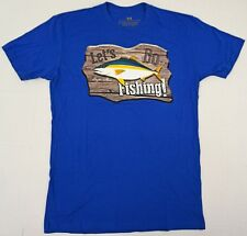 LET'S GO FISHING T-shirt Baja Mexico Tee 100% Cotton Men MEDIUM Blue New