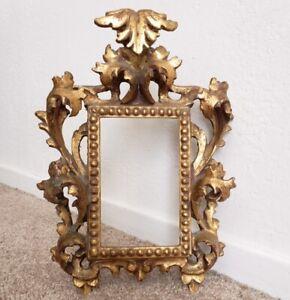 Vintage Rococo Florentine 3 1/2 x 5 1/2 Italian Ornate Gesso Picture Frame