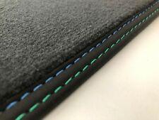 Fußmatten für BMW 3er E21 auch Alpina Velours anthrazit mit Doppelnaht blau-grün