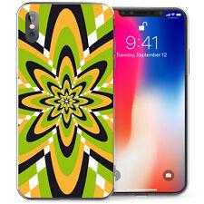 Smartphone Apple iPhone X caso, Delgada Retro Flower Power años 60 Patrón Cubierta TPU FLEXI GEL Reino Unido
