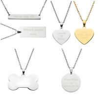 Women Personalised Engraved Steel Bar Necklace Pendant Chain Jewelry Silver Gold