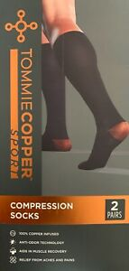 2 Pairs Tommie Copper Sport Compression Socks Foot Aches & Pain Relief S/M L/XL