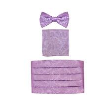 NEW 100% polyester paisley Cummerbund_bowtie_hankie set formal wedding Lavender