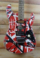 New EVH® Striped Series Frankie Electric Guitar Red with Black and White Stripes