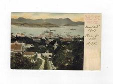 US Postal station Shanghai China 1907 used post card to USA HongKong Harbour