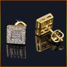 Mens & Ladies 0.5ct. Lab Diamond 14K Canary Gold Screw Back Stud Earrings 8mm