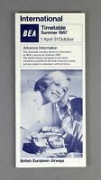 BEA BRITISH EUROPEAN AIRWAYS ADVANCE AIRLINE TIMETABLE INTERNATIONAL SUMMER 1967