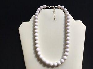 Women's Short White Bead Necklace