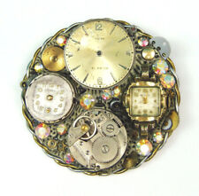 Vintage Steampunk Signed Art Brooch Timex/Benrus Watch Gears