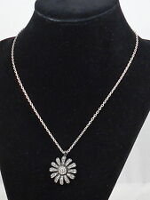 Fossil Brand Silvertone GLITZ PENDANTS Clear Pave' Flower Necklace JA4983 $34