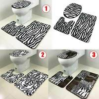 3Pcs/Set Bathroom Non-Slip Tiger Zebra Pedestal Rug+Lid Toilet Cover+Bath Mat