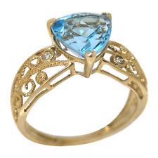 De Buman 14K Yellow Gold 3.19ct Topaz and Diamond Ring, Size 7.25