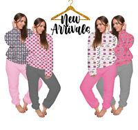 Ladies womens Coral Fleece Warm Cosy pyjamas Long Sleeve Bottom Pajama set Pjs
