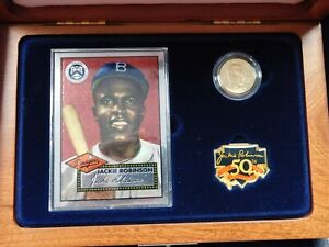 1997-W $5 Gold Proof Jackie Robinson Legacy Set with COA, Lapel Pin, Card, Patch