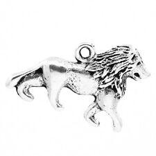 "60PCs Charm Pendants lion Animal Silver Tone 26mmx17mm(1""x5/8"")"