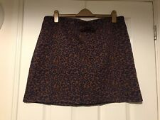 M&S Brown & Navy Leopard Print Srtuctured Mini Skirt Size UK 20