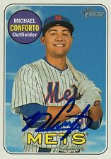 New York Mets Michael Conforto Signed Trading Card 2018 Topps Heritage #364 Coa