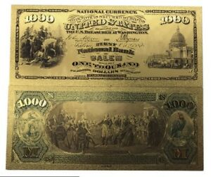 USA 1000$ ONE THOUSAND US DOLLARS NATIONAL BANK SALEM COLOUR BANKNOTE GOLD 24K