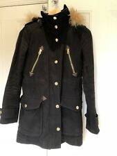 Juicy Couture XS Black Winter Parka Military Womans Coat Faux Fur Worn UK8 Gold