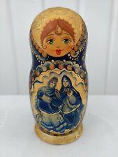 Russian Wood Stacking Dolls Enamel Painted Multi Nesting Set of 5