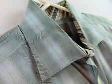 Thomas Dean Dress Shirt Mens Size XL Green Plaid Beautiful Flip Cuff $125