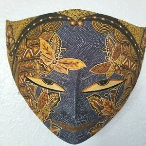 Batik Mask Butterfly Carved Wood Java Bali Indonesia 11 in Fair Trade US Seller