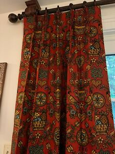 """3 Panels 24""""x64"""" Pinch Pleat Custom Lined Drapes Curtains Panel Red Pattern"""