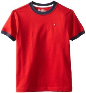 Bnew Tommy Hilfiger Boys' Core Crew-Neck Ken T-Shirt, Red, Large (16-18)