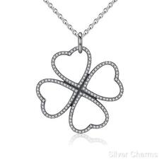 Lucky 4 Leaf Clover Petals of Love Silver Necklace Mother's Day Jewellery Gift