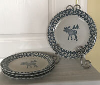 """4 Folk Craft Moose Country By Tienshan 10.25"""" Oven To Table Dinner Plates"""