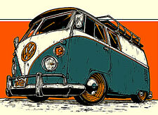 "3.25"" Vintage style Volkswagen Bus STICKER. Bug, Beetle. Great on bong pipe. VW"