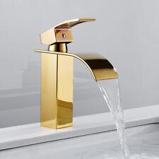 Modern Bathroom Waterfall Basin Mixer Taps Single Lever Brass Faucet Gold
