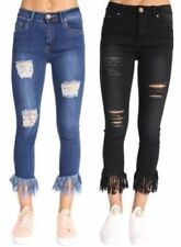 Polyester Ripped Machine Washable Pants for Women