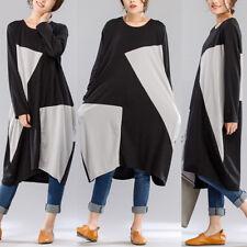 UK 14-24 ZANZEA Womens Long Sleeve Crewneck Loose Tunic Shirt Dress Baggy Kaftan