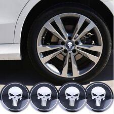4 x Punisher Felgensticker Aufkleber Nabendeckel Nabenkappen Emblem Skull 56mm