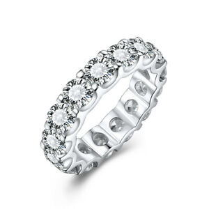 Round 4mm Cubic Zirconia Luxurious Generous Band Ring Sterling Silver Simple