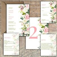 Personalised Luxury Rustic Wedding Invitations IVORY & PINK/BLUSH ROSE PK 10