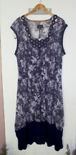 Free Woman Shift Midi Dress Size 22 Purple Semi-sheer Boat Neckline Sleeveless