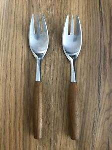 """2 Vintage Dansk Designs IHQ Germany Salad Forks 6 1/2"""" Replacement Set Teak Wood"""