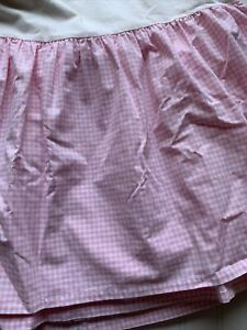 Pottery Barn Kids Pink Gingham Check Bed Skirt Dust Ruffle TWIN