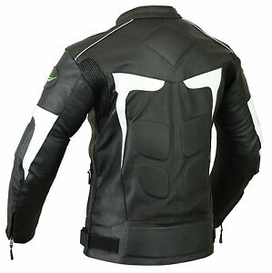 Mens Biker Motorbike Motorcycle LJ2-W Leather Jacket with CE Armours