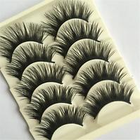 5 Pairs Black Natural Eye Lashes Makeup Handmade Soft Long Thick False Eyelashes