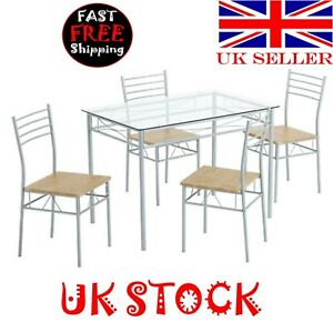 Dining Table and Chairs Silver One Table and Four Chairs MDF Cushion  Iron Glass