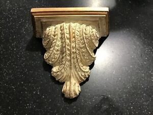 """Vintage Ornate Wall Sconce Shelf White and Gold  7"""" wide and 8"""" long"""